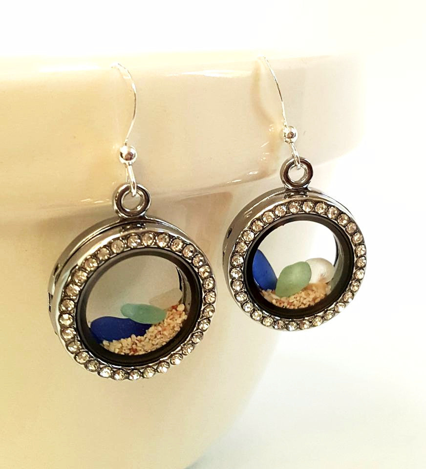 Sand and sea glass locket earrings.