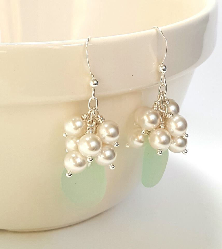 GENUINE Sea Foam Sea Glass Earrings Sterling Silver With Pearls