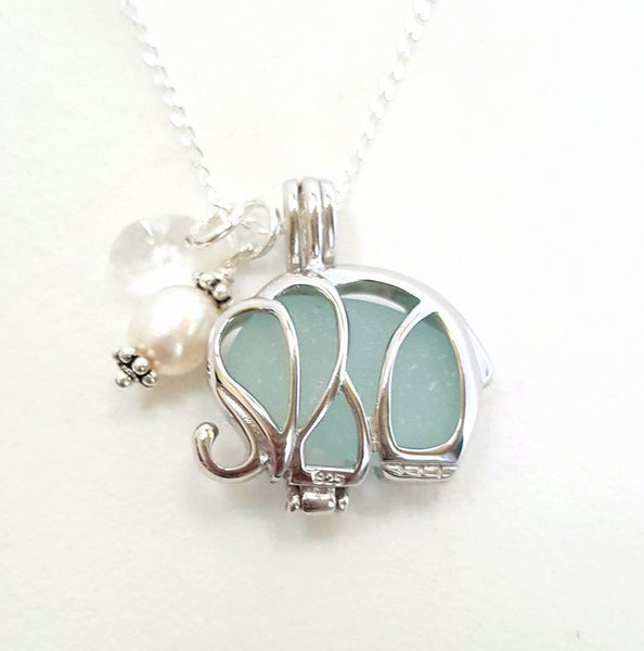 Aqua Sea Glass Elephant Locket Necklace