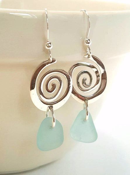 Aqua Sea Glass Earrings With Sterling Spirals.