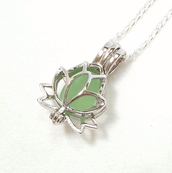 Lotus Locket Filled With Real Sea Foam Sea Glass.
