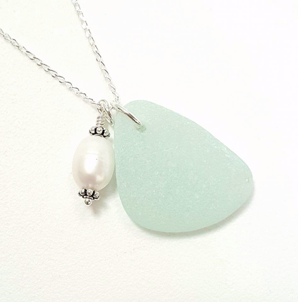 Real Sea Glass Necklace In Aqua With Pearl.