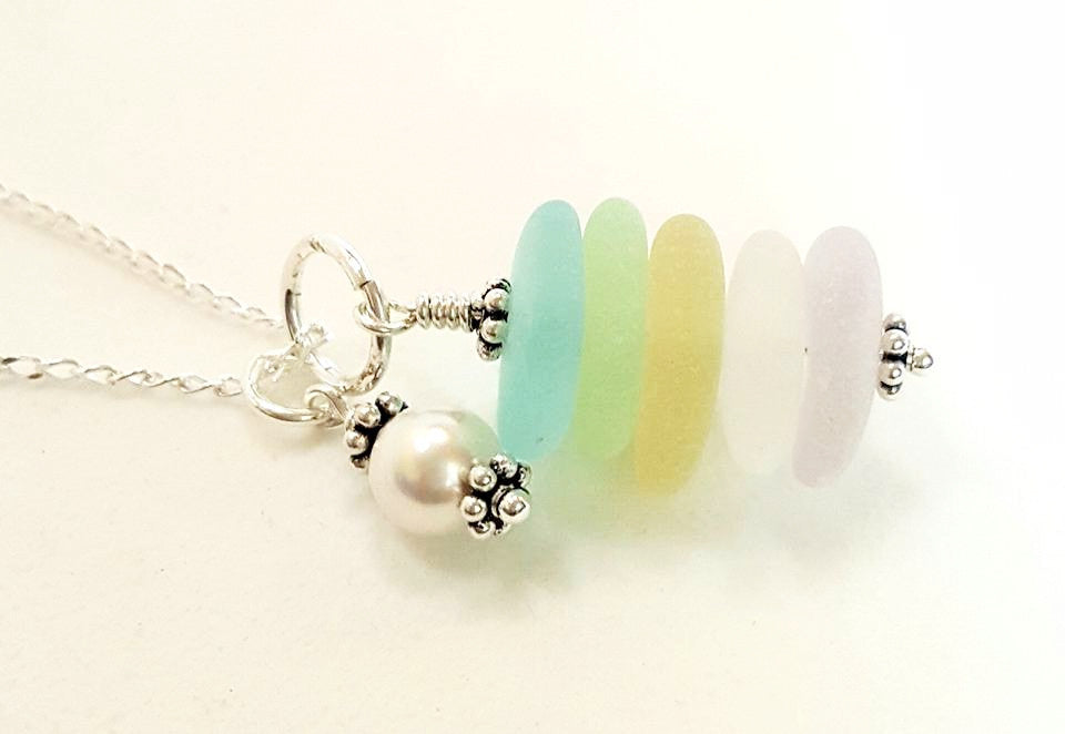 Beach Necklace Real Sea Glass Jeweley With Rare Colors