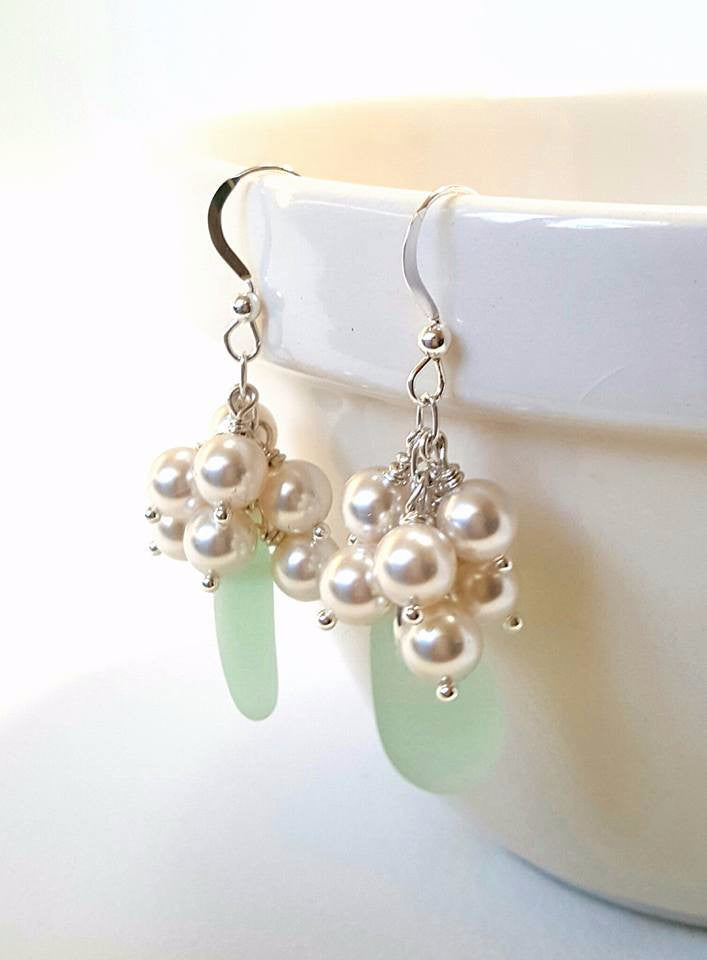 Genuine sea foam sea glass earrings with pearls.
