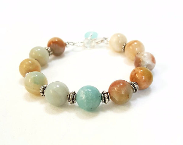 Boho bracelet with stone and sea glass.