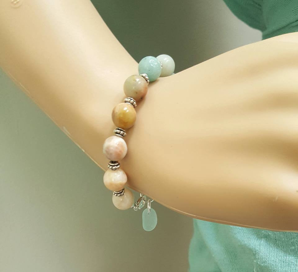 Boho Bracelet With Aqua Sea Glass And Stones