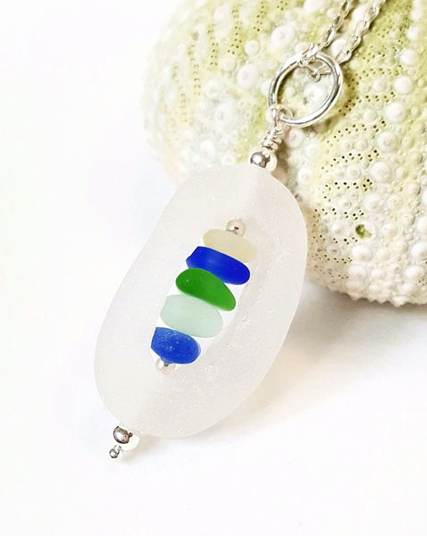 English Sea Glass Cage Pendant Necklace