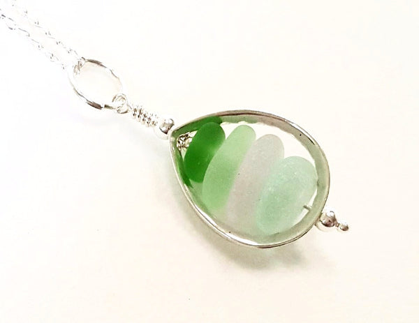 Sea Glass Teardrop Pendant Necklace