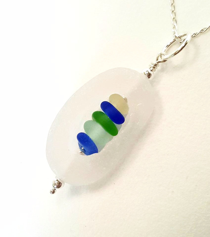 GENUINE English Sea Glass Necklace Cage With Seaglass Gems