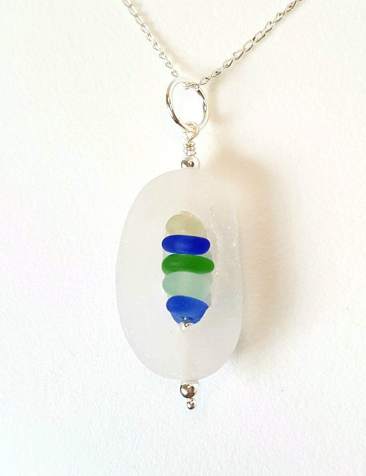 GENUINE English Sea Glass Necklace Cage With Seaglass Gems Statement