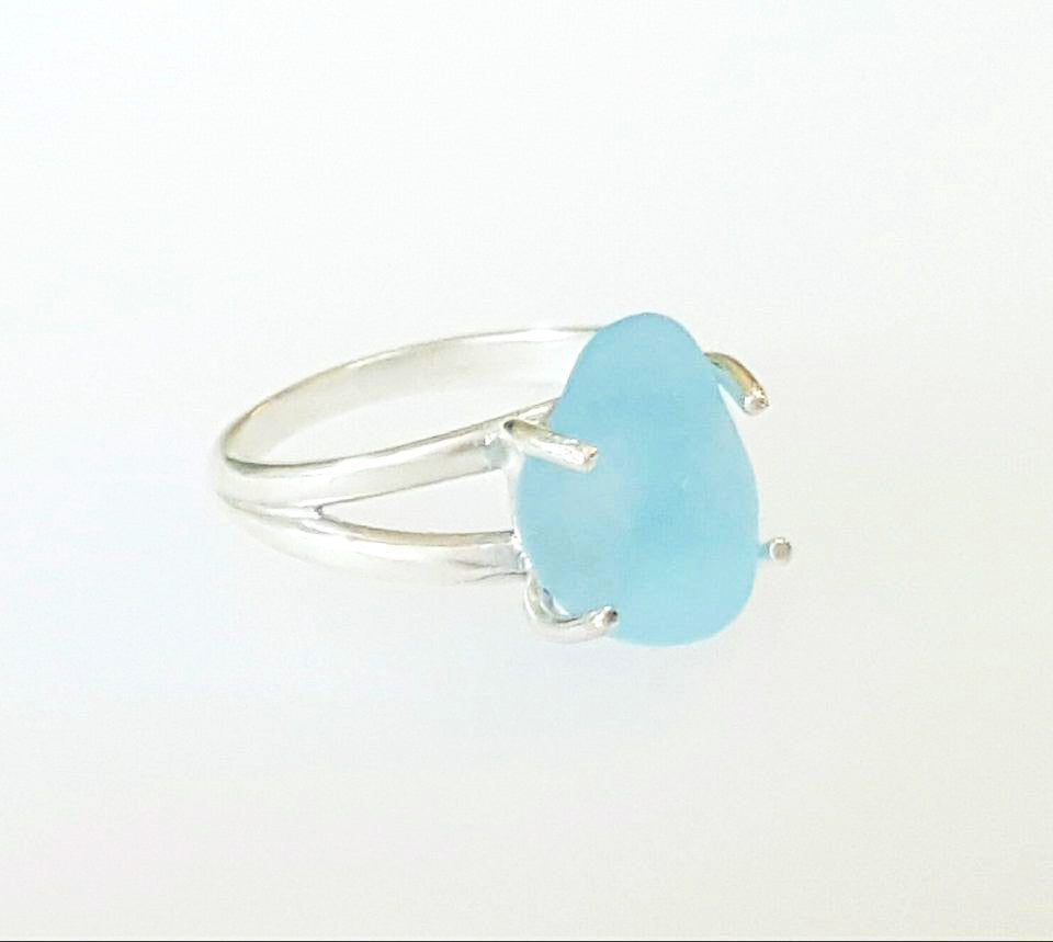 Real Sea Glass Ring Sterling Silver Solitaire Ring With Blue Seaglass