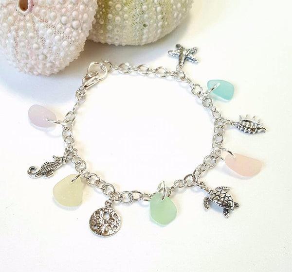 Beach Glass Bracelet With Charms