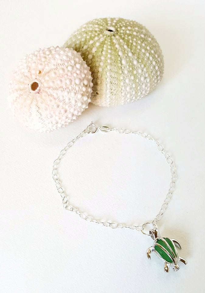 Real Sea Glass And Turtle Anklet In Green And Sterling Silver