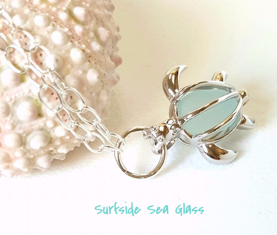 Sea Glass Bracelet With Turtle