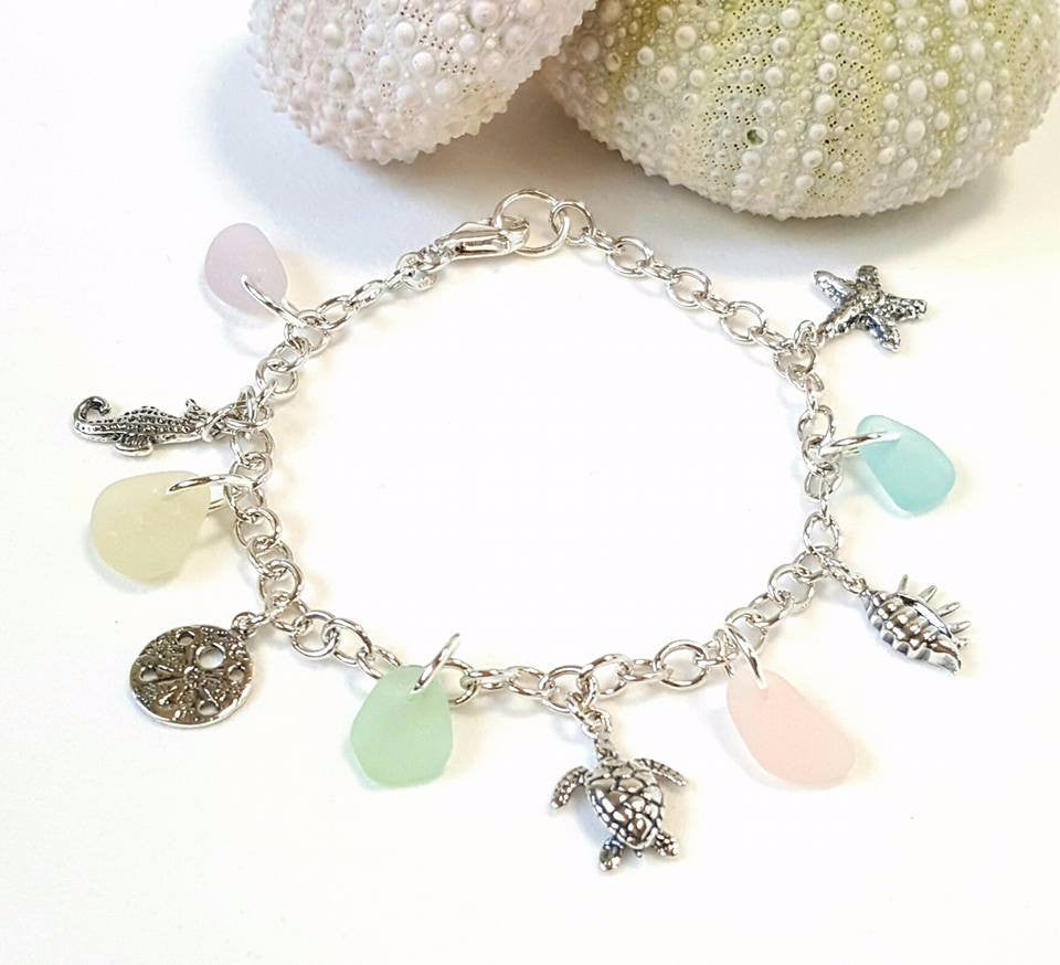 GENUINE Beach Glass Bracelet With Charms Turtle Starfish Sterling Silver