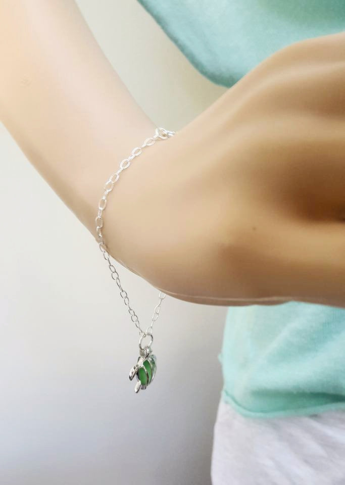 Genuine Sea Glass And Turtle Bracelet In Sterling Silver Choice Of Colors