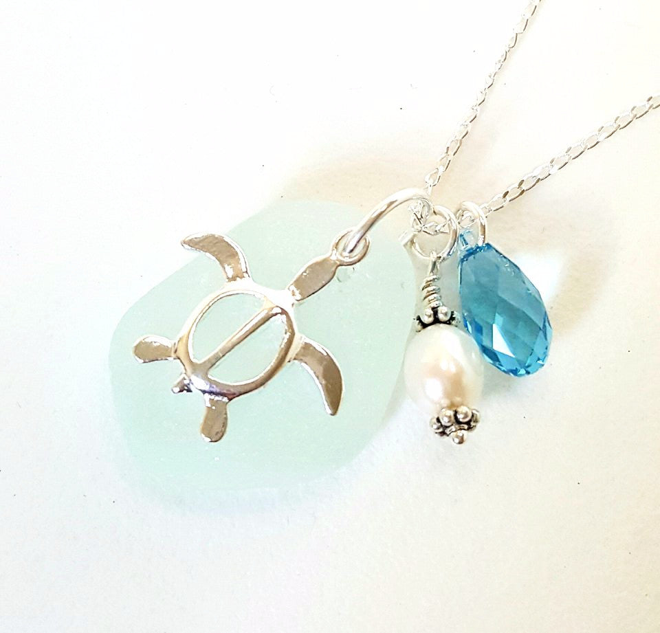 Turtle and sea glass necklace