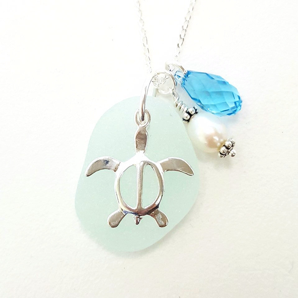 Genuine Beach Glass Turtle Necklace In Sterling Silver And Aqua Blue