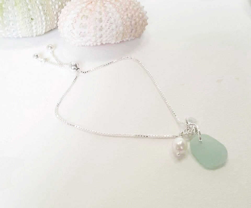 GENUINE Sea Glass Bracelet With Pearl And Crystal Fine Silver Adjustable