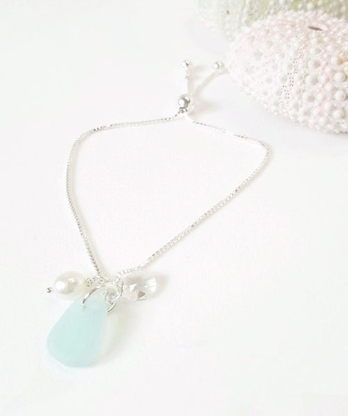 Adjustable Sea Glass Bracelet in Fine Silver With Pearl