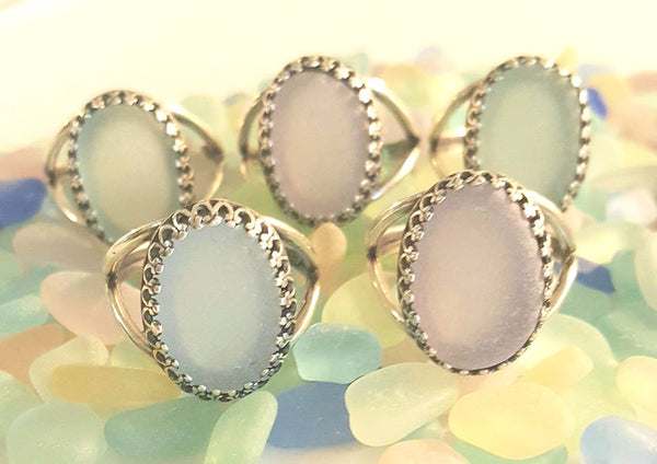 Sea Glass Ring In Choice Of Colors