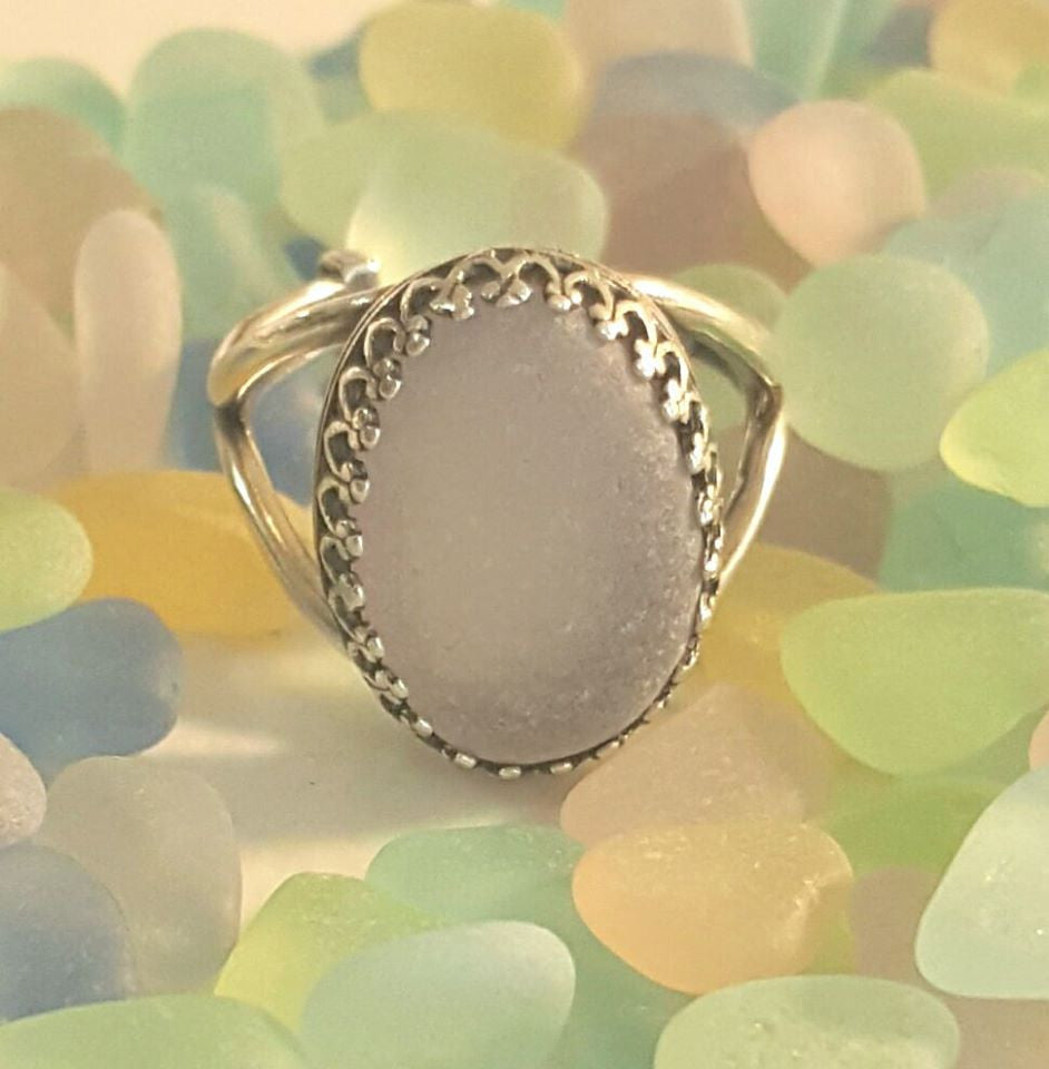 Sea Glass Ring In Silver Choice Of Colors