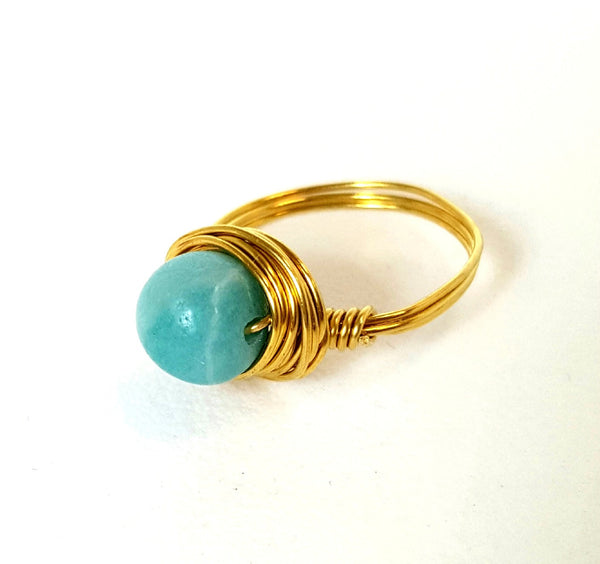 Artisan Wire-Wrapped Amazonite Ring