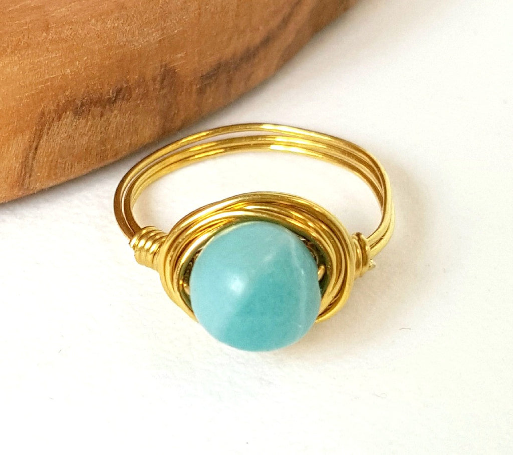 Artisan Amazonite Ring Hand Wire Wrapped Beachy