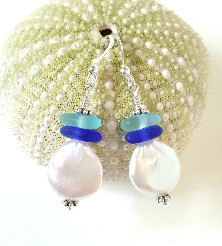 Authentic Blue Sea Glass Earrings With Coin Pearls
