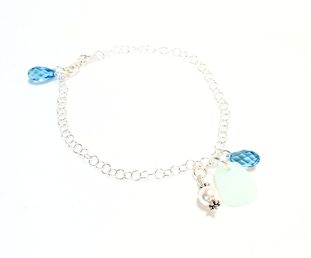 REAL Sea Glass Bracelet And Sterling Silver Choose Your Color