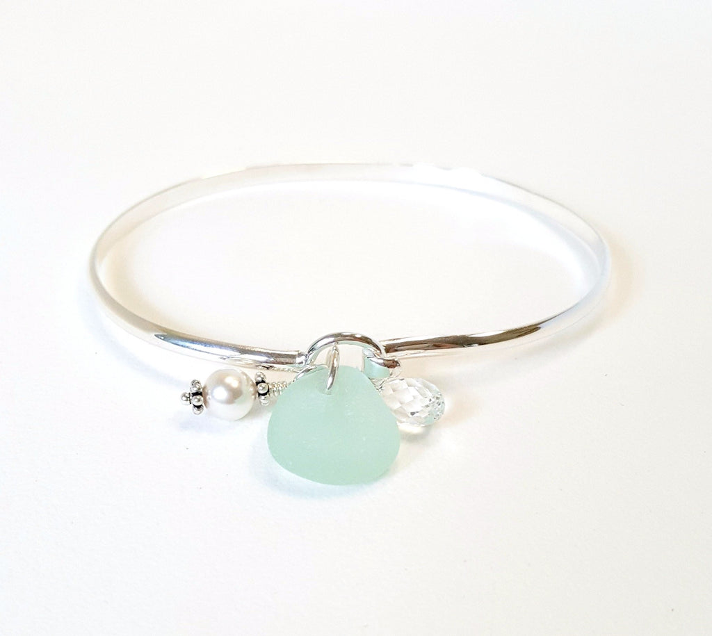 Artisan made sea foam sea glass bracelet
