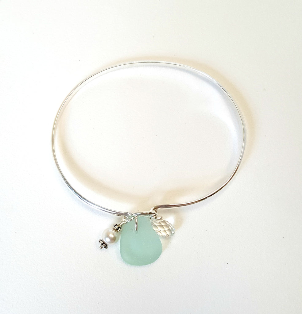 Real Beach Glass Bracelet - Sterling Silver Bangle- Choice of Colors