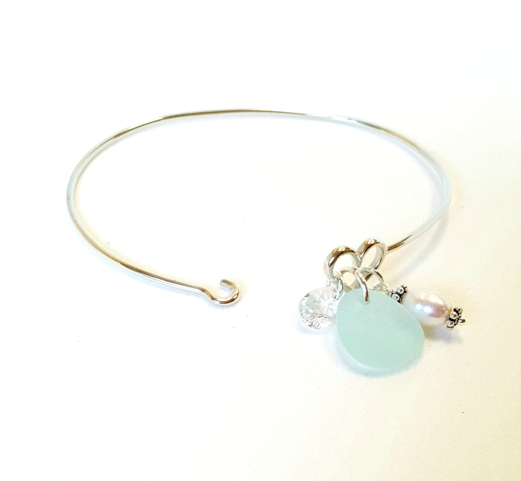 Authentic Sea Glass Bracelet In Aqua Blue And Sterling Silver