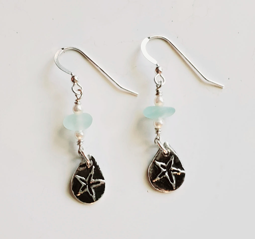Starfish Earring With Sea Glass in Fine Silver