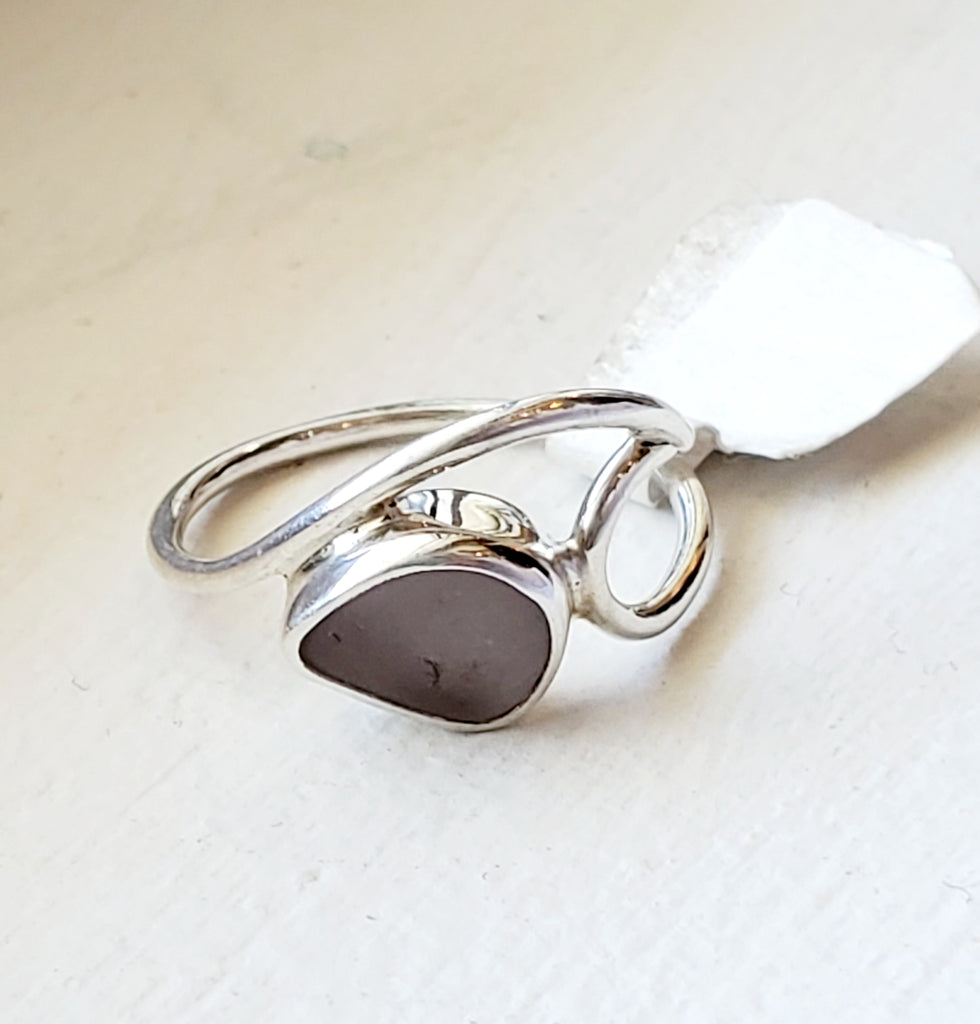 Genuine Sea Glass Wave Ring In Sterling Silver