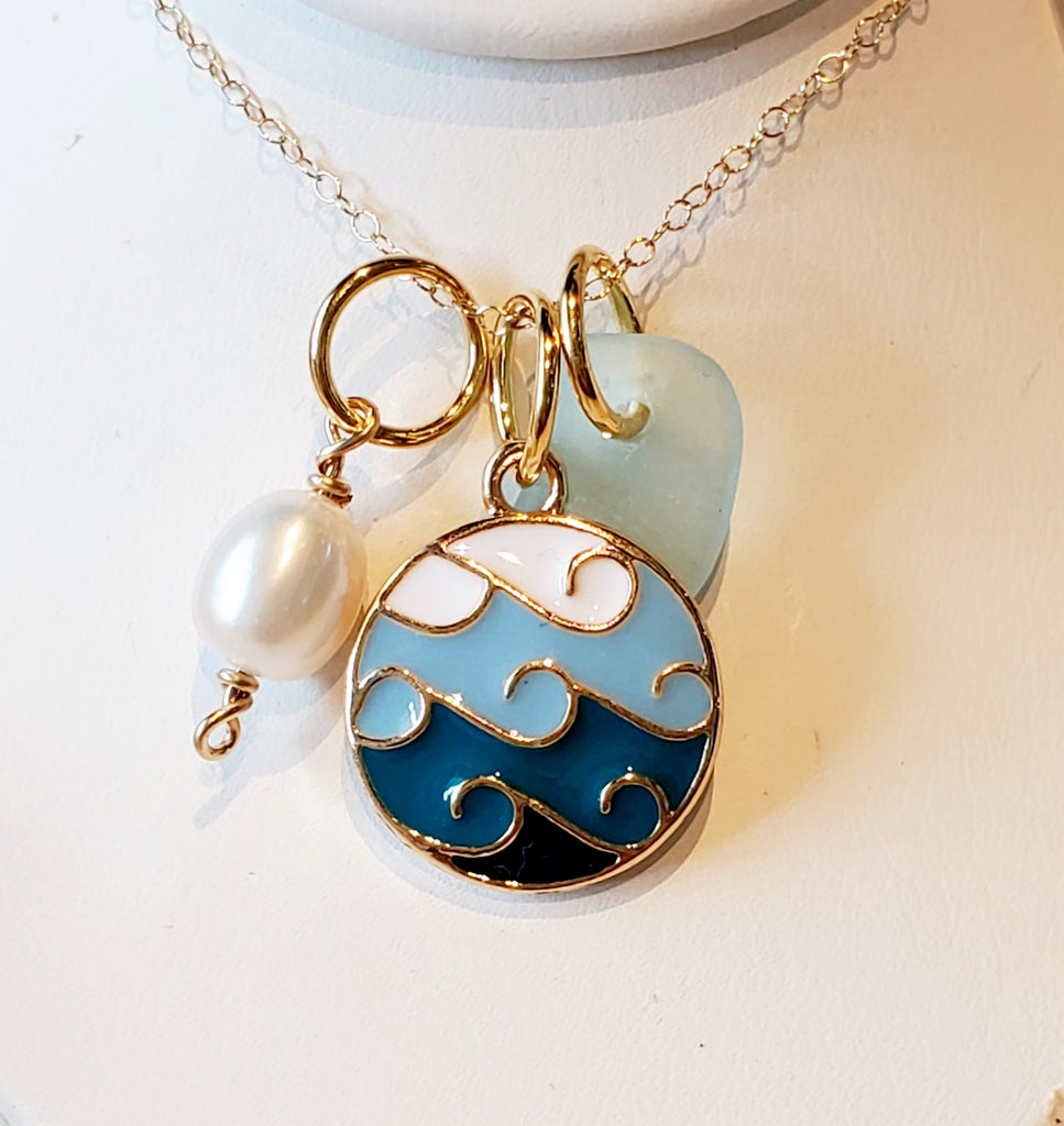 Gold Sea Glass Necklace With Waves in Blue