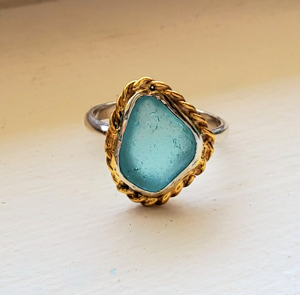 Aqua Blue Sea Glass Ring Sterling Silver and Gold Ring