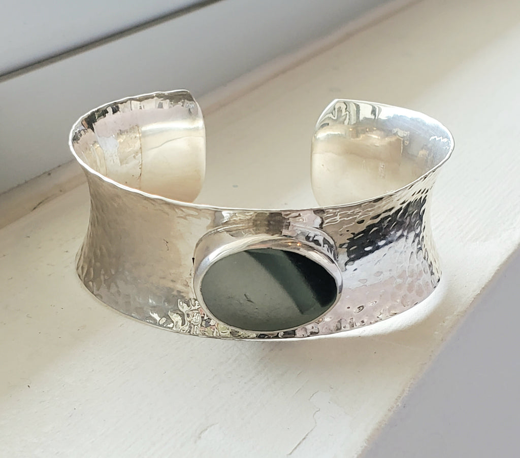 Unique Large Cuff English Sea Glass Bracelet