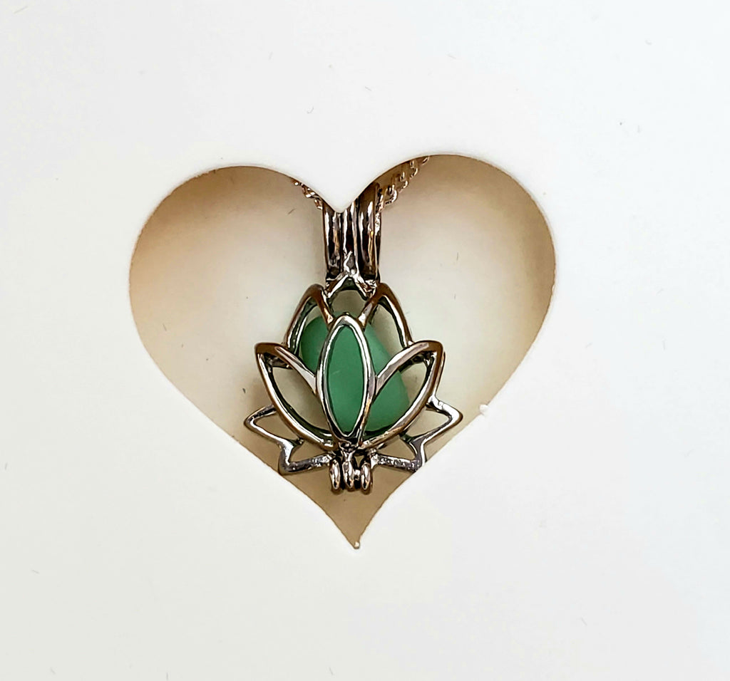 SALE Sea Glass Lotus Locket Necklace Gift