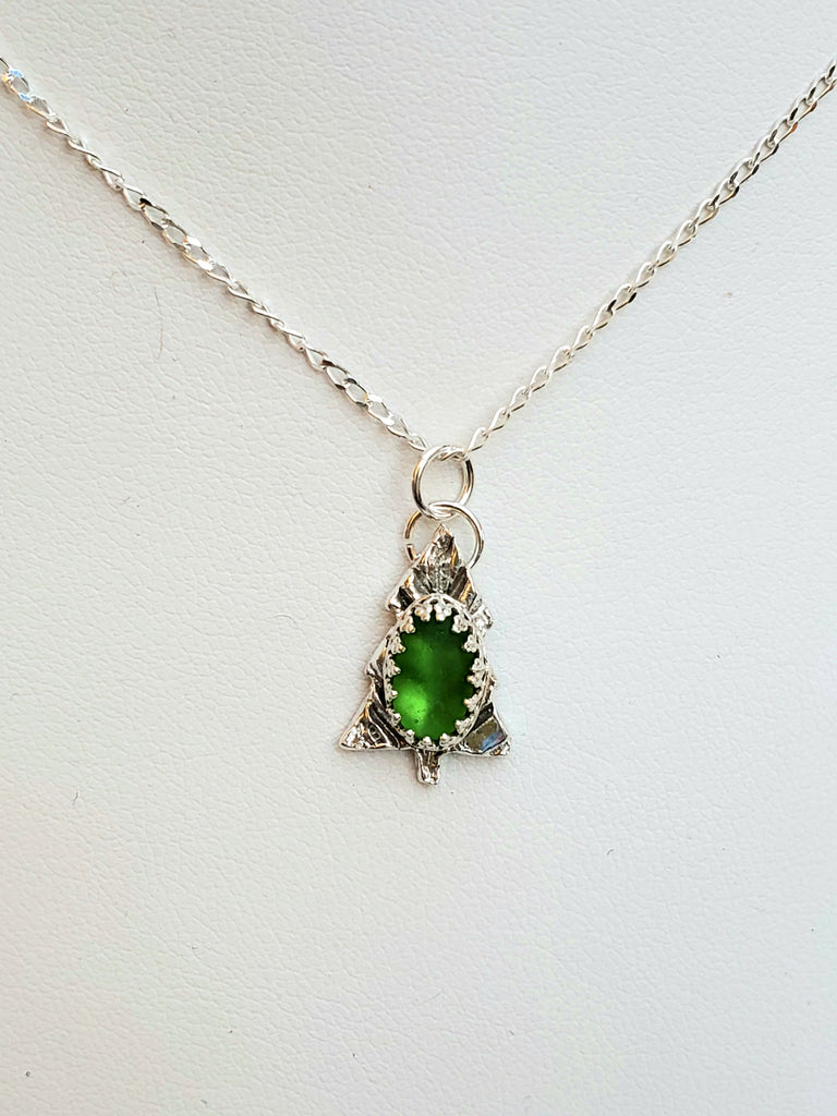 Petite Tree And Green Sea Glass Pendant Necklace