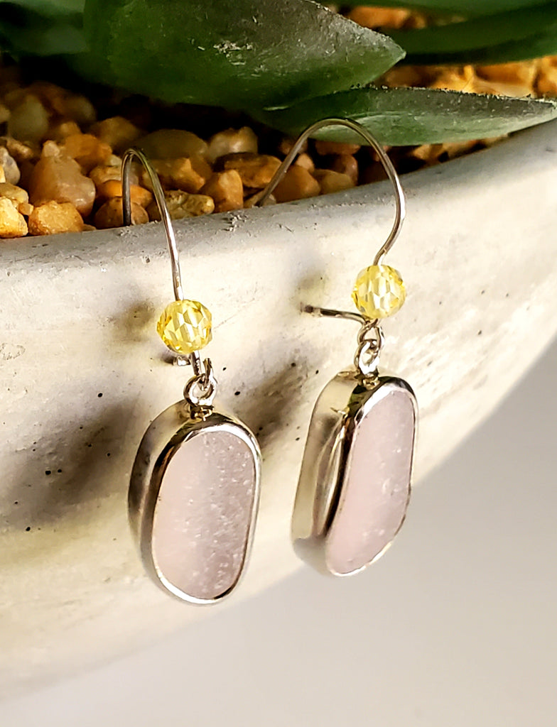 Lavender Sea Glass Earrings Sterling Silver