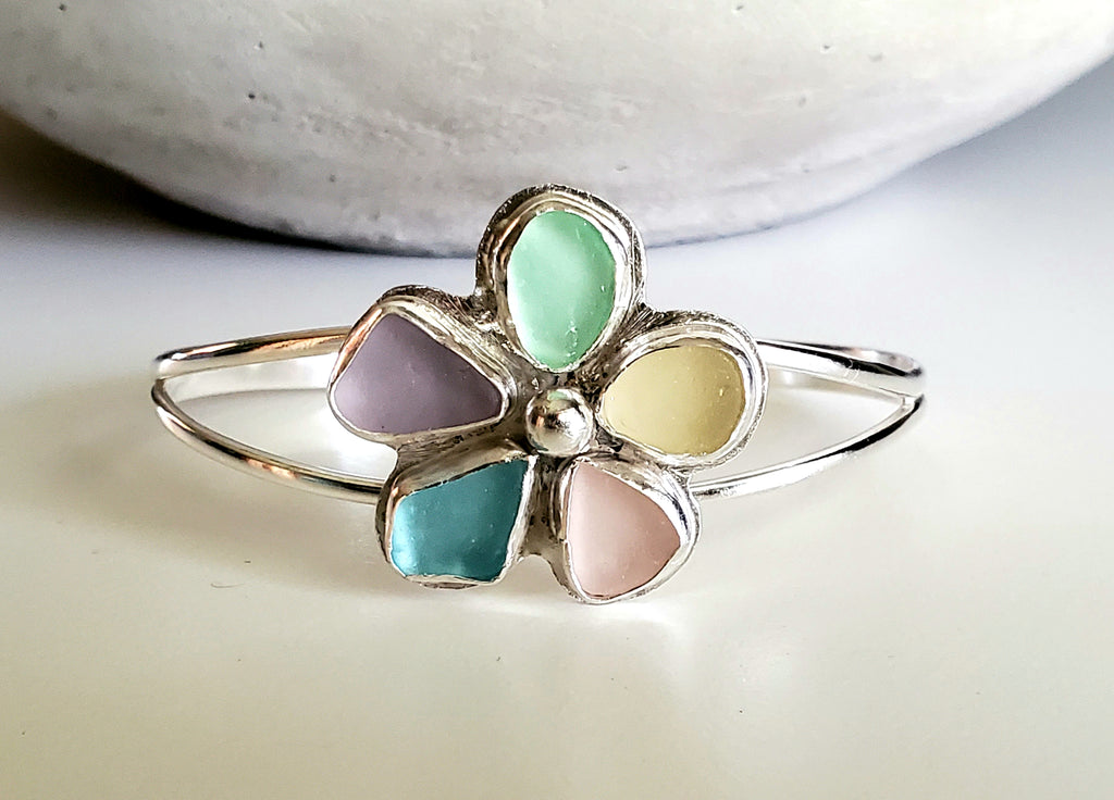 Flower Sea Glass Cuff Bracelet