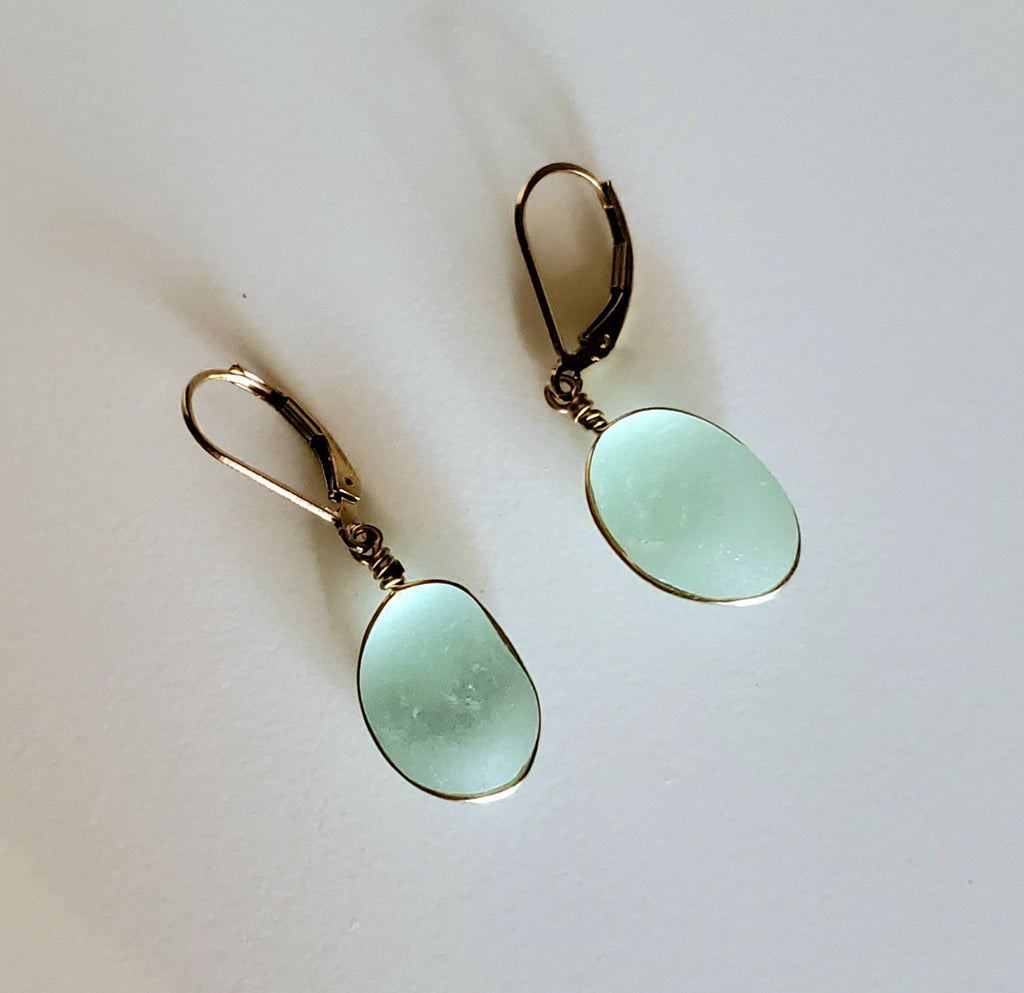 Gold Sea Glass Earrings in Aqua Blue