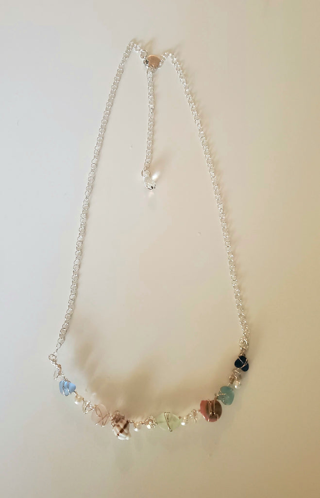Genuine Sea Glass Necklace With Shells And Pearls In Silver And Gold Statement