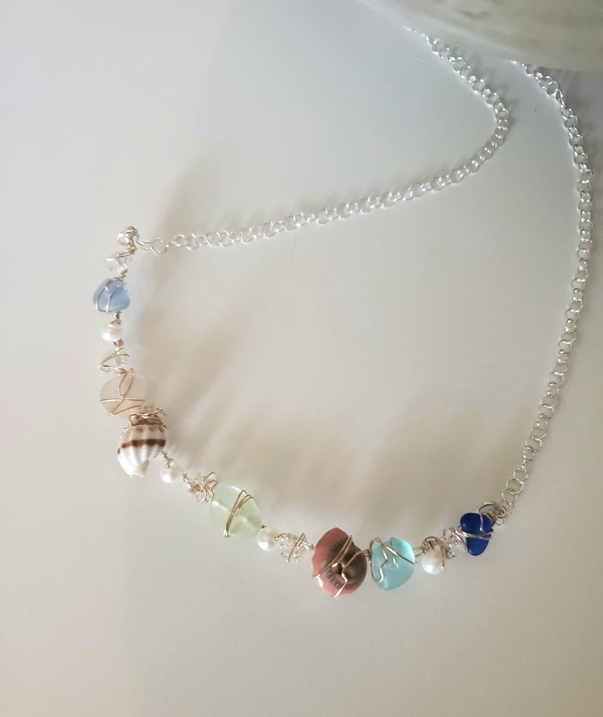 Genuine Sea Glass Necklace With Shells And Pearls In Silver And Gold