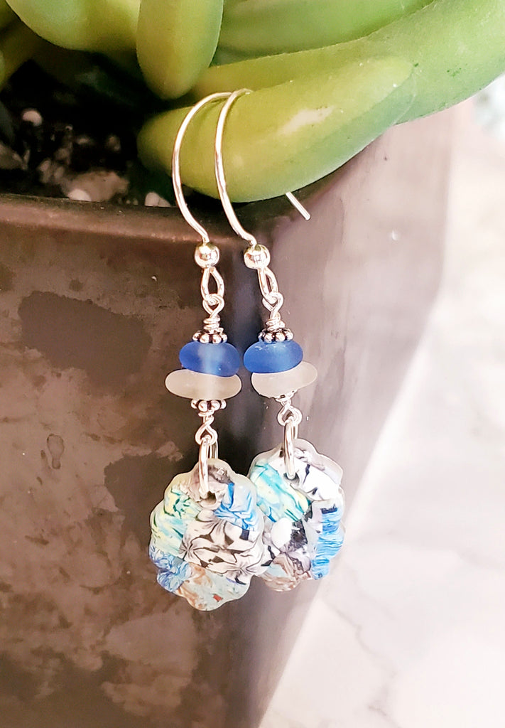 Beach Glass Earrings With Quilted Charms