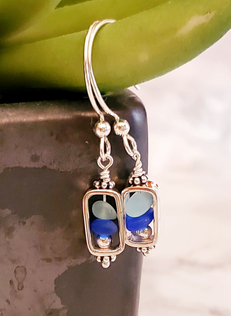 GENUINE Rare Cobalt Blue Sea Glass Earrings Sterling Silver Geometric Jewelry