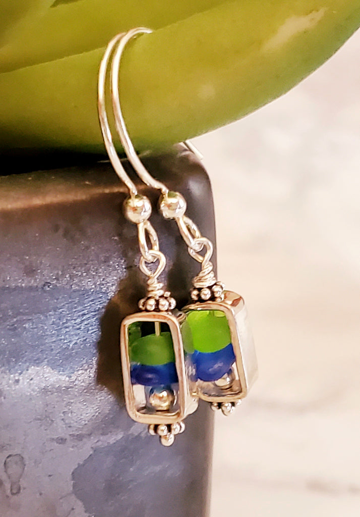 GENUINE Beach Glass Earrings Sterling Silver Green And Blue Seaglass
