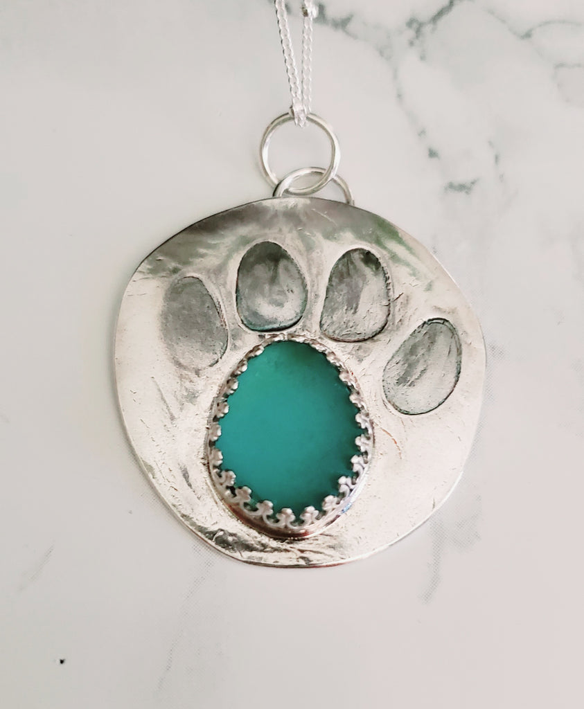 Dog Paw Print Genuine Sea Glass Pendant Necklace
