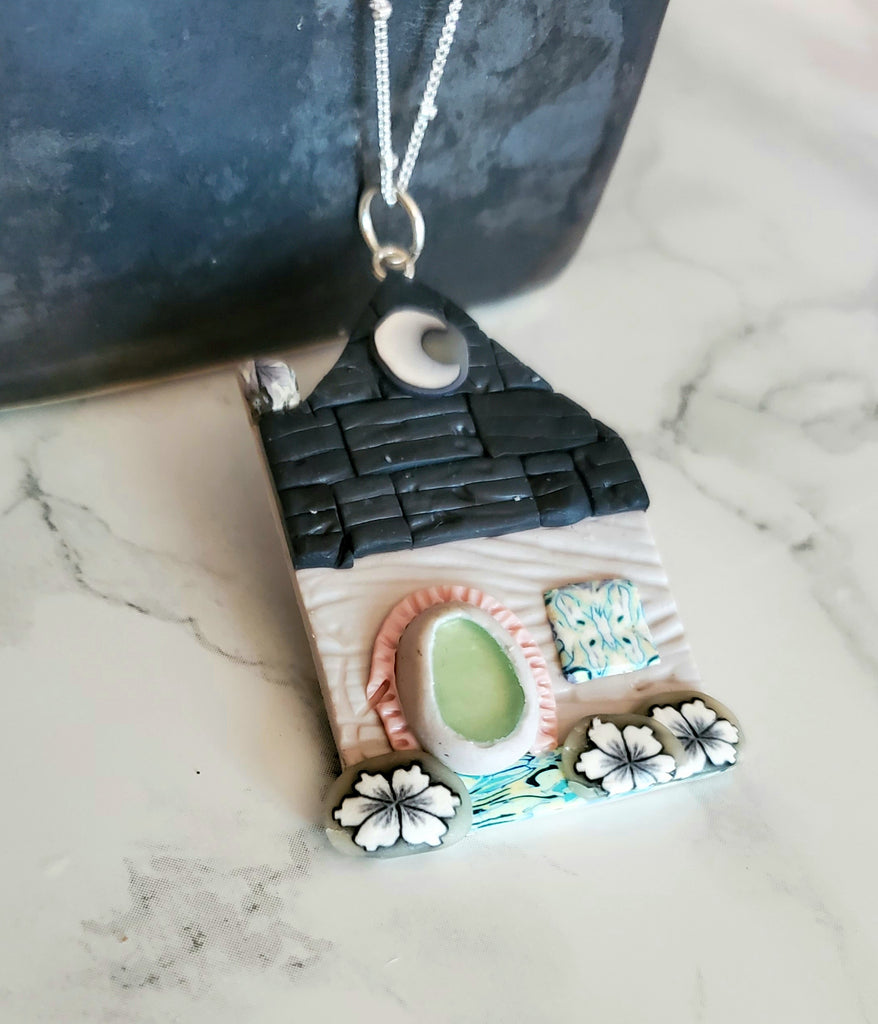 Sea Glass Cottage Pendant Necklace Statement